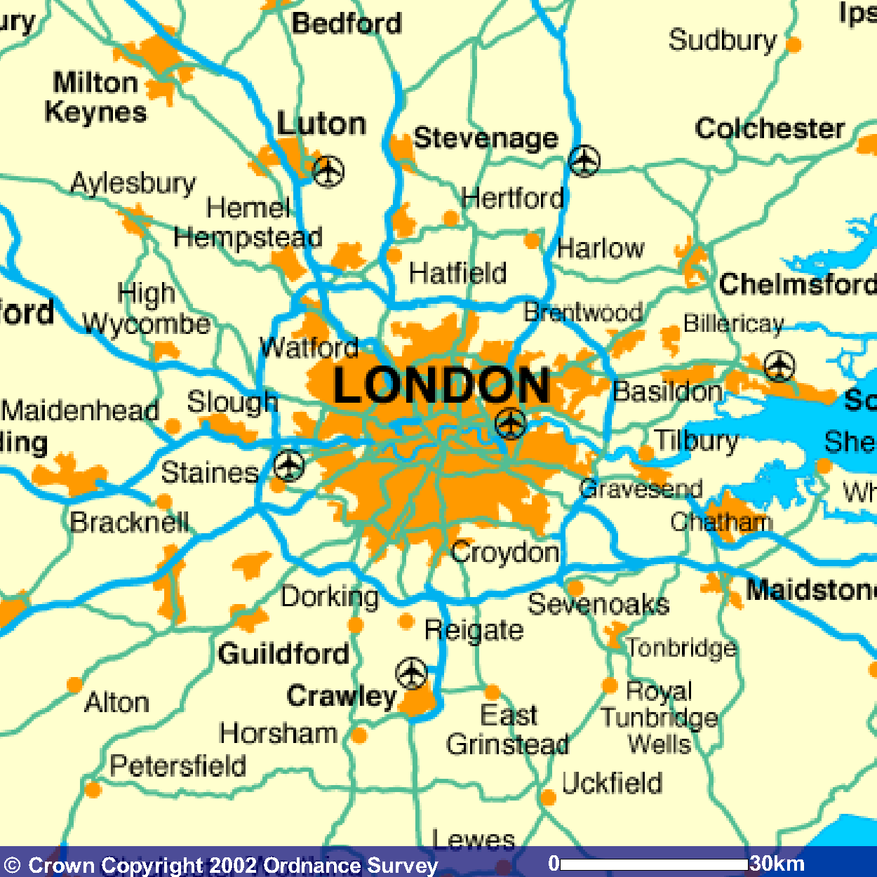 Map Of South East England Counties.Airport Transfer Journey Times And London Information Facts